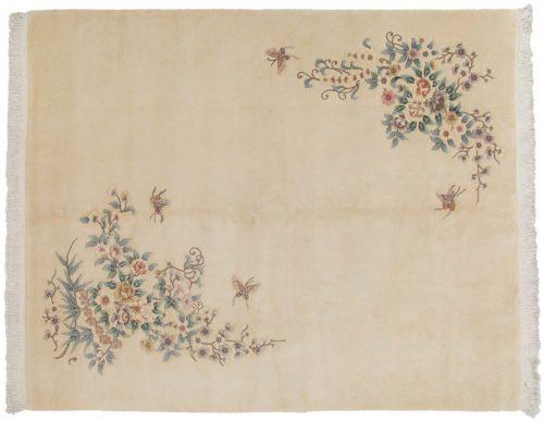 8×10 Floral Ivory Oriental Rug 029254