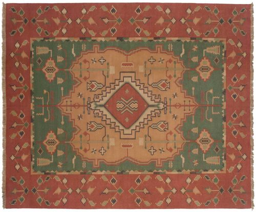 8×10 Dhurrie Green Oriental Rug 024130