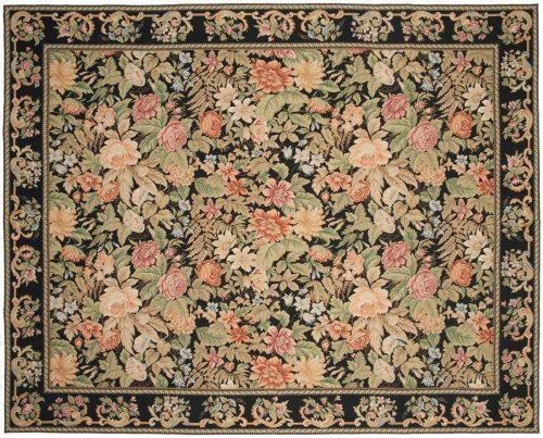 8×10 Floral Black Oriental Rug 014312