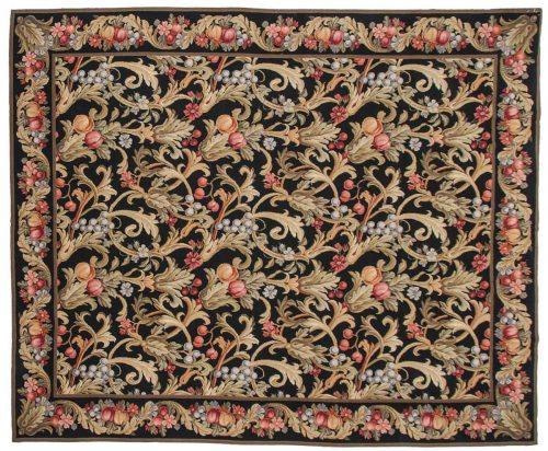8×10 Floral Black Oriental Rug 014316