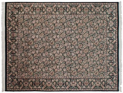8×10 Floral Black Oriental Rug 026011