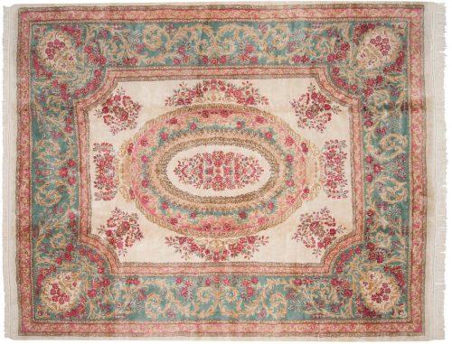 8×10 Persian Kerman Ivory Oriental Rug 017476