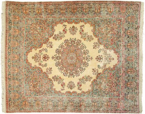 8×10 Persian Kerman Ivory Oriental Rug 017596