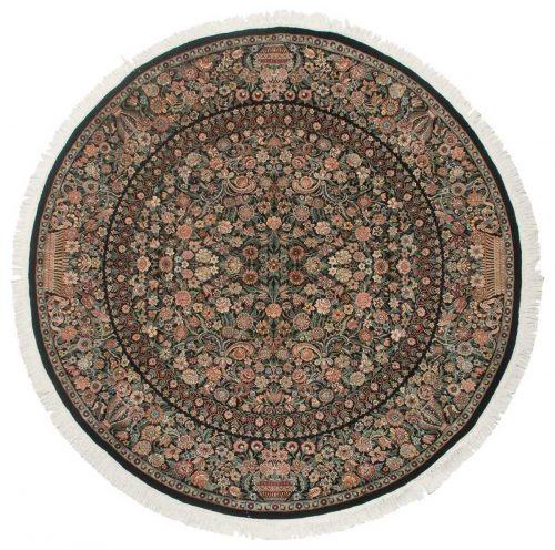 8×8 Aubusson Black Oriental Round Rug 025964