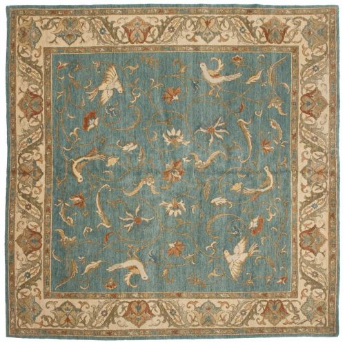 8×8 Bird Blue Oriental Square Rug 020962
