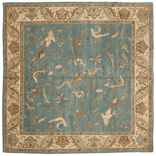 8×8 Bird Blue Oriental Square Rug 020962