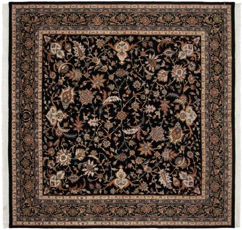 8×8 Isfahan Black Oriental Square Rug 039486