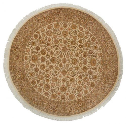 8×8 Persian Ivory Oriental Round Rug 026102