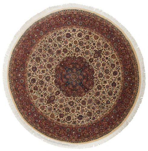 8×8 Isfahan Ivory Oriental Round Rug 026135