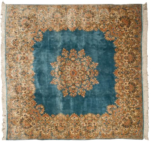 8×8 Persian Kerman Blue Oriental Square Rug 012245