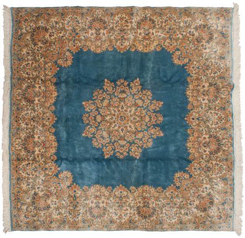 8×8 Persian Kerman Blue Oriental Square Rug 012246