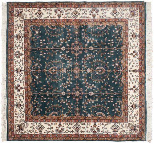 8×8 Sarouk Teal Oriental Square Rug 031117