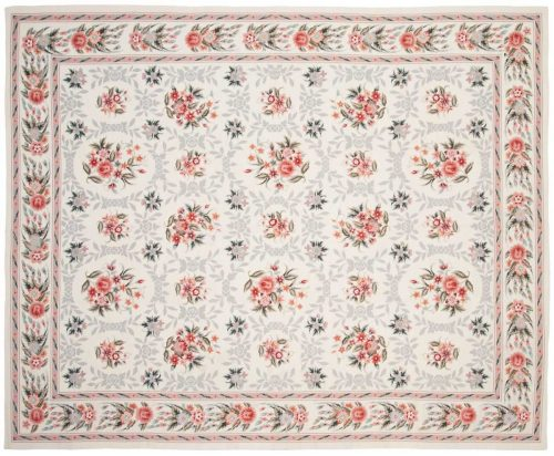 8×9 Floral Bouquet Ivory Oriental Rug 014224
