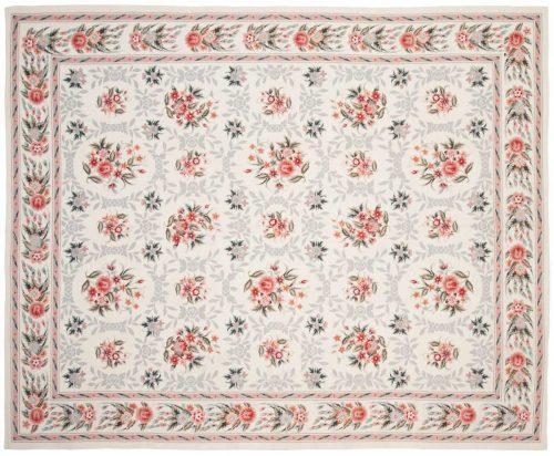 8×9 Floral Bouquet Ivory Oriental Rug 014224