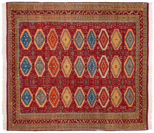 9×10 Bokhara Red Oriental Square Rug 027695