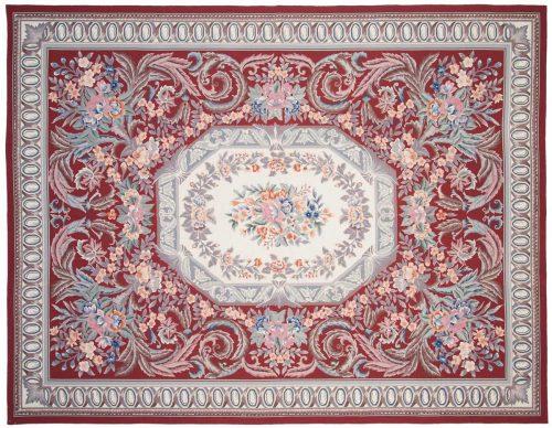 9×11 Aubusson Burgundy Oriental Rug 013978