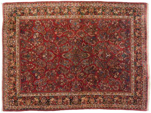 9×11 Persian Sarouk Red Oriental Rug 017634