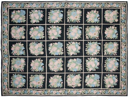 9×12 Chain Stitch Black Oriental Rug 040116