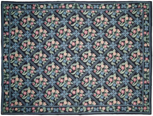 9×12 Chain Stitch Blue Oriental Rug 040076