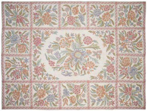 9×12 Chain Stitch Ivory Oriental Rug 040078