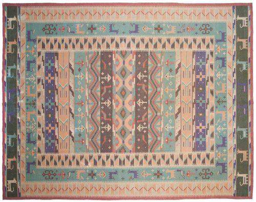 9×12 Dhurrie Green Oriental Rug 048274
