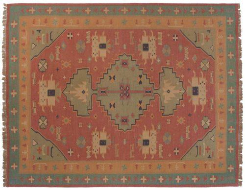 9×12 Dhurrie Rose Oriental Rug 023955