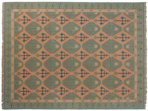 9×12 Dhurrie Green Oriental Rug 024063