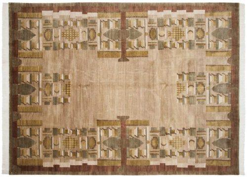 9×12 Folk Art Gold Oriental Rug 039062