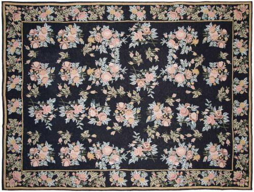 9×12 Kashmir Black Oriental Rug 023521