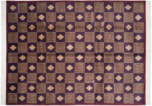 9×12 Block Purple Oriental Rug 032650