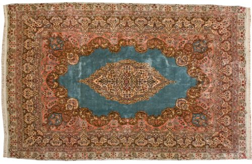 9×13 Persian Kerman Blue Oriental Rug 017276