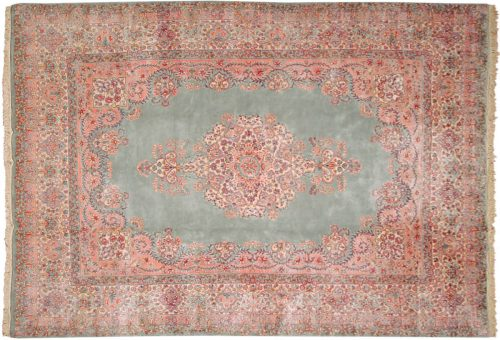 9×13 Persian Kerman Green Oriental Rug 017283