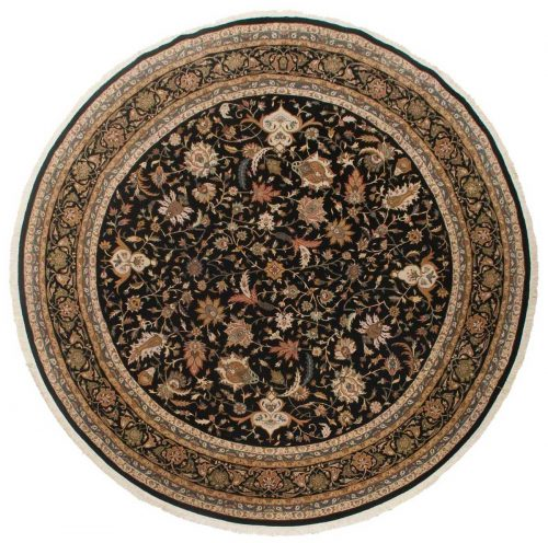 9×9 Isfahan Black Oriental Round Rug 042841