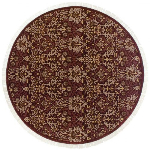 9×9 William Morris Burgundy Oriental Round Rug 037866