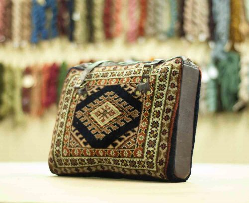 1×1 Turkman Blue Oriental Carpet Bag 033375