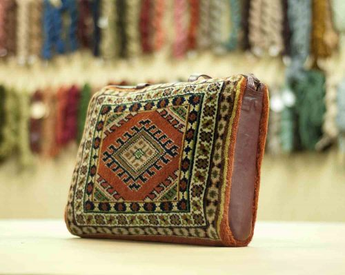 1×1 Turkman Rust Oriental Carpet Bag 033392
